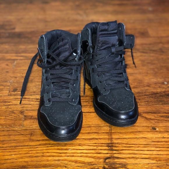 All Black Nike Dunk Sky Hi Wedge Sneakers. M 5bc4aaf5fe515112538a3c79 59bc4ee18ada